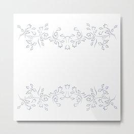 Grayish Blue White Floral Border Metal Print