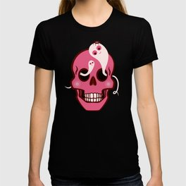 Cute Skull With Spider And Ghosts In Eye Sockets T-shirt