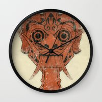 majoras mask Wall Clocks featuring Mask by Guilherme Rosa // Velvia