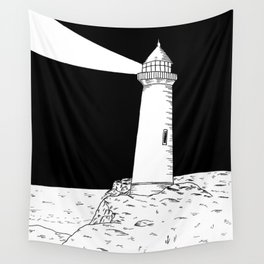 Lighthouse at Night Wall Tapestry