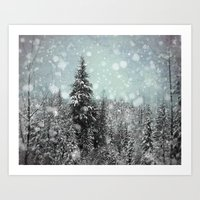 snow white Art Prints featuring Snow by Pure Nature Photos