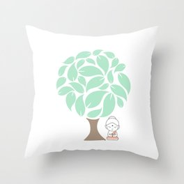 Little Buddha meditating under a tree Throw Pillow