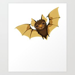 Cute Brown Vampire Bat Halloween Art Print