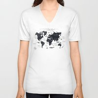 tapestry V-neck T-shirts featuring The World Map by Mike Koubou