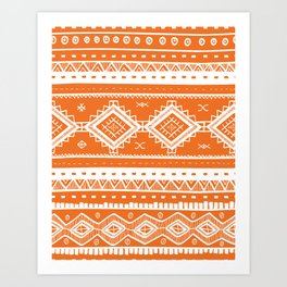 Tribal Aztec Lace Pattern (orange) Art Print
