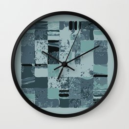 Modern Linear Ocean Sky Blue Squares Fusion Tailored Opulant Architectural Elegant Custom Wall Clock
