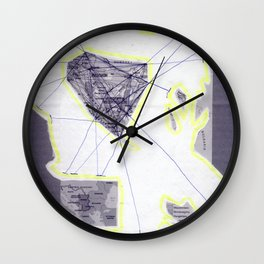 scan of yellow highlighter and blue ballpoint pen on black and white photocopy  Wall Clock