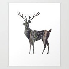 deer silhouette stag black bark with lichen Art Print
