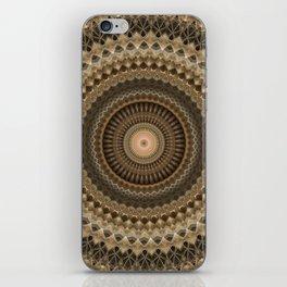 Mandala in beige and warm brown tones iPhone Skin