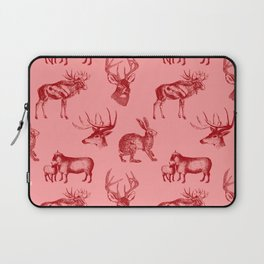 Woodland Critters in Red and Pink Laptop Sleeve