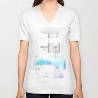 fog V-neck T-shirts featuring Fog by allan redd