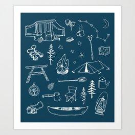 Simple Camping blue Art Print