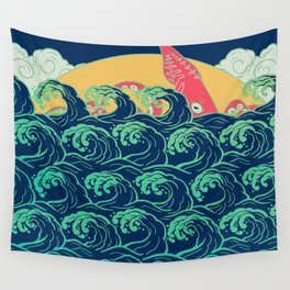 Squid on the waves Wall Tapestry