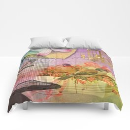 Beautiful Birds & Cages Colorful & Vintage Comforters