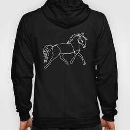 Galloping Horses, White on Navy Blue Hoody