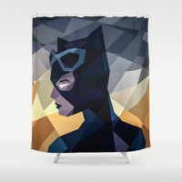 dc comics Shower Curtains featuring DC Comics Catwoman by Eric Dufresne