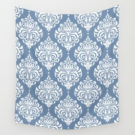 Sky Blue Damask Wall Tapestry