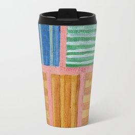 Beautiful Stripes Pattern within a Pink Grid Travel Mug