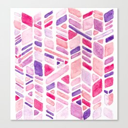 Pink Geometric Hand-painted Pattern Canvas Print