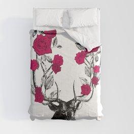 The Stag and Roses | Deer and Flowers | Red | Vintage Stag | Vintage Deer | Antlers | Woodland | Comforters