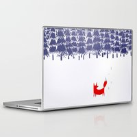 teagan white Laptop & iPad Skins featuring Alone in the forest by Robert Farkas