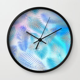 Watercolor and Silver Feathers on Watercolor Background Wall Clock