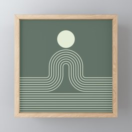Geometric Lines in Sage Green 3 (Rainbow Sun and Ocean abstraction) Framed Mini Art Print