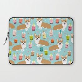 corgi boba tea bubble tea cute kawaii dog breed fabric welsh corgis dog gifts Laptop Sleeve