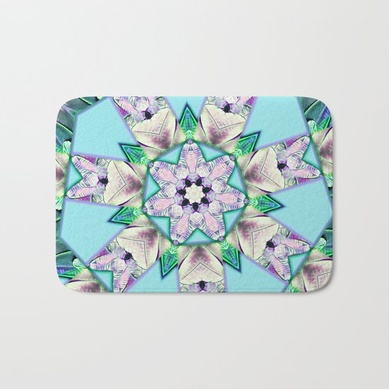 floral star mandala Bath Mat
