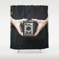 vintage camera Shower Curtains featuring Vintage Camera by Maria Heyens