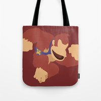 donkey kong Tote Bags featuring Donkey Kong(Smash)Red by ejgomez