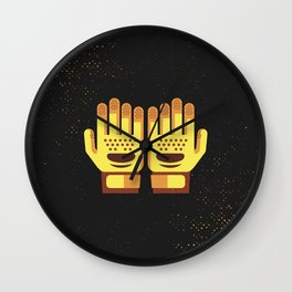 Minimal Retro Cricket Gloves Wall Clock