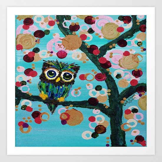 :: Gemmy Owl Loves Jewel Trees :: Art Print