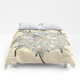 WHITE  NIGHT BLOOMING TROPICAL CEREUS  ON CREAM ART Comforters