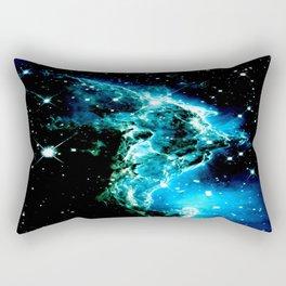 galaXY Monkey Head Nebula turquoise blue Rectangular Pillow
