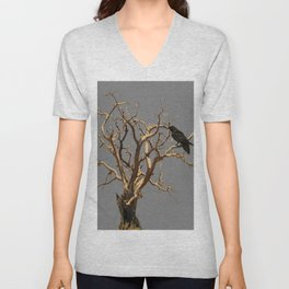 RAVEN ON DEAD TREE GREY ART Unisex V-Neck