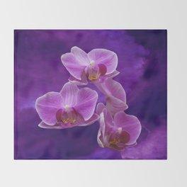 Purple Orchids Throw Blanket