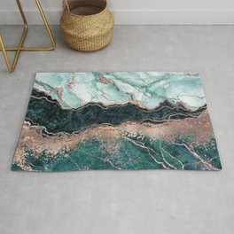 Luxury jade green teal rose gold glitter marble Rug