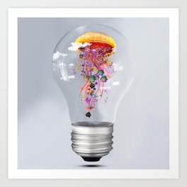 Electric Jellyfish Worlds in  a Ligtbulb Art Print