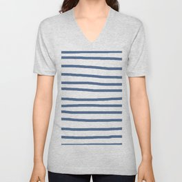 Simply Drawn Stripes in Aegean Blue and White Unisex V-Neck