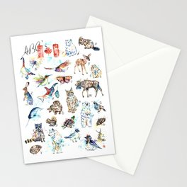 Canadian Wildlife ABCs Watercolor Painting Stationery Cards