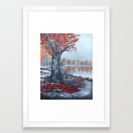 Fall Breeze 20x16 oil on canvas Framed Art Print