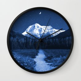 Mountain Path and Forest-Blue Wall Clock