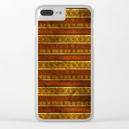 African Ethnic Tribal Pattern in golds and brown Clear iPhone Case
