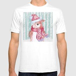 Winter Woodland Friends Cute Bear Snowy Forest Illustration T-shirt