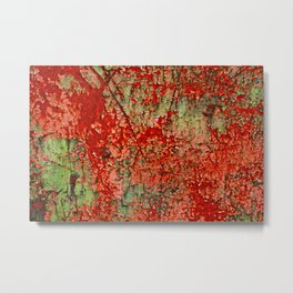 Abstract Red Rust on Green Paint Metal Print