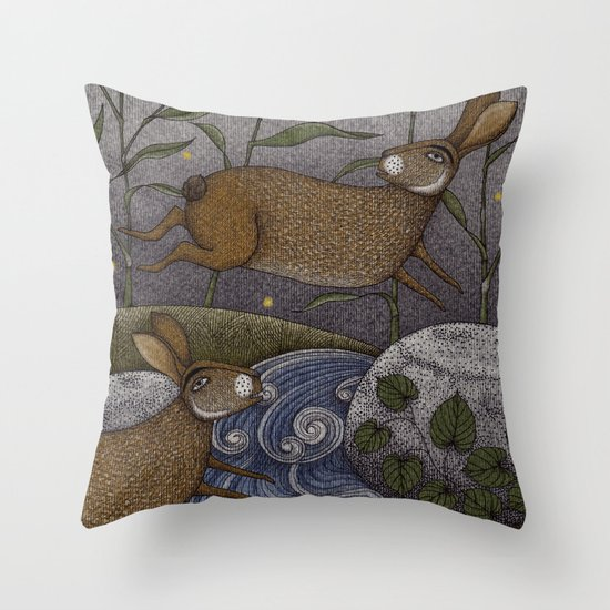 Swamp Rabbit's Reedy River Race Throw Pillow