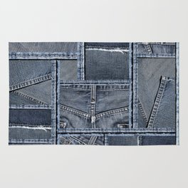 Blue Denim Patchwork Pattern Rug