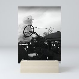Nevada Snowman on Antique Tractor Mini Art Print