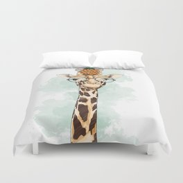 Intelectual Giraffe with a pineapple on head Duvet Cover